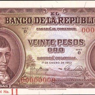 COLOMBIA. Banco de la Republica. 20 Pesos Oro, 1953-65. P-401s1. Specimen.
