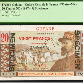 FRENCH GUIANA. Caisse Cen. de la France d'Outre-Mer. 20 Francs, ND