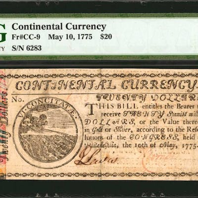CC-9. Continental Currency. May 10, 1775. $20. PMG Choice Very Fine
