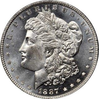 1887/6 Morgan Silver Dollar. MS-65 DMPL (PCGS).