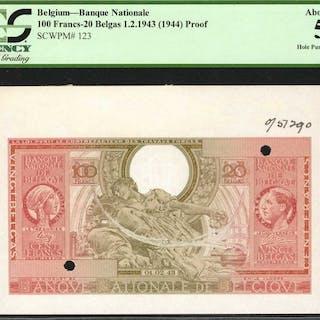 BELGIUM. Banque Nationale de Belgique. 100 Francs-20 Belgas, 1943.