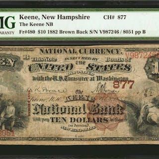 Keene, New Hampshire. $10 1882 Brown Back. Fr. 480. The Keene NB.