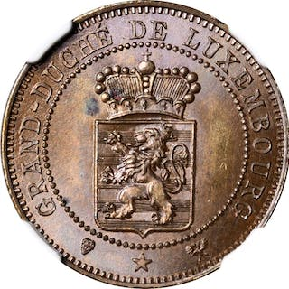 LUXEMBOURG. Copper 5 Centimes Essai (Pattern), 1889. Adolf. NGC MS-65 BN.