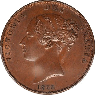 GREAT BRITAIN. Penny, 1848. London Mint. Victoria. PCGS MS-64 Brown