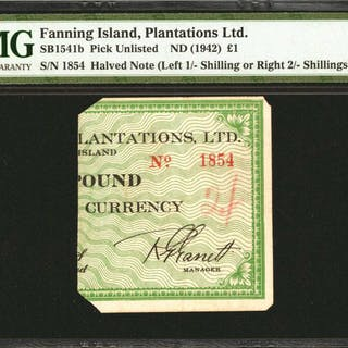 FANNING ISLAND. Fanning Island Plantations Ltd. 1 Pound Halved Note