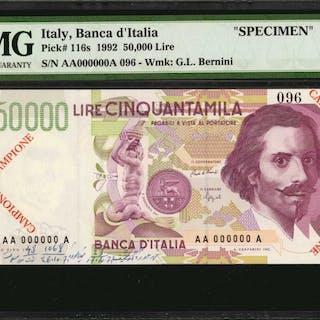 ITALY. Banca d'Italia. 50000 Lire, 1992. P-116s. Specimen. PMG Choice