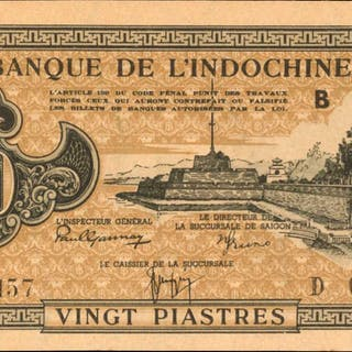 FRENCH INDO-CHINA. Banque de l'Indo-Chine. 20 Piastres, ND (1942-45).