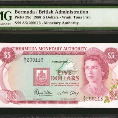 BERMUDA. Bermuda Monetary Authority. 5 Dollars, 1986. P-29c. PMG Gem