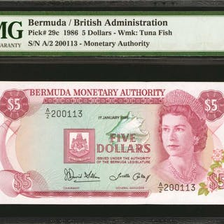 BERMUDA. Bermuda Monetary Authority. 5 Dollars, 1986. P-29c. PMG Gem