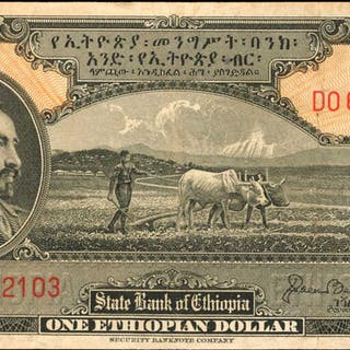ETHIOPIA. State Bank of Ethiopia. 1 Ethiopian Dollar, ND (1945). P-12b.