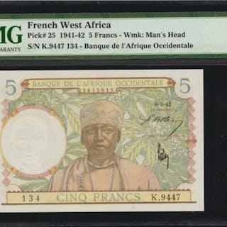 FRENCH WEST AFRICA. Banque de l'Afrique Occidentale. 5 Francs, 1941-42.