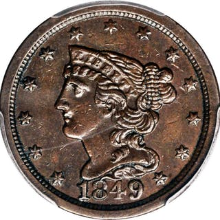 1849 Braided Hair Half Cent. Large Date. AU-58 (PCGS).