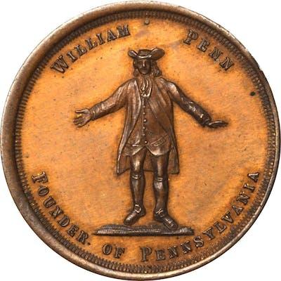 1882 William Penn, Founder of Pennsylvania Medal. Copper. 31.9 mm. Mint State.