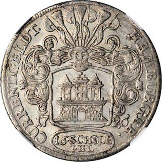 GERMANY. Hamburg. 16 Schilling, 1726-IHL. Karl VI. NGC AU-55.