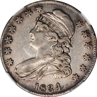 1834 Capped Bust Half Dollar. Large Date, Small Letters. EF-40 (NGC).
