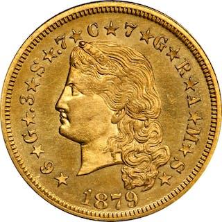 1879 Four-Dollar Gold Stella. Flowing Hair. Judd-1635, Pollock-1833.