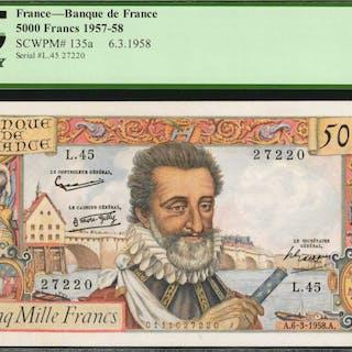 FRANCE. Banque de France. 5000 Francs, 1957-58. P-135a. PCGS Currency