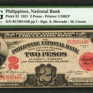 PHILIPPINES. Philippine National Bank. 2 Pesos, 1921. P-52. PMG Very Fine 30.