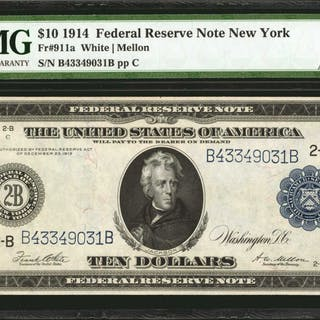 Fr. 911a. 1914 $10  Federal Reserve Note. New York. PMG About Uncirculated 55.