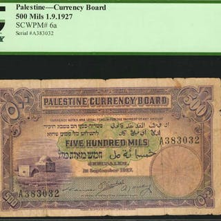 PALESTINE. Currency Board. 500 Mils, 1927. P-6a. PCGS Currency Fine