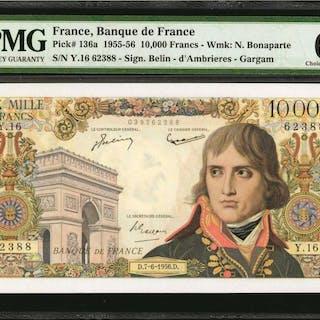 FRANCE. Banque de France. 10000 Francs, 1955-56. P-136a. PMG Choice