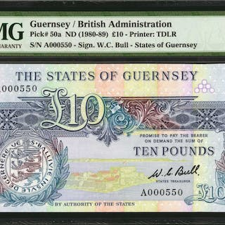 GUERNSEY. States of Guernsey. 10 Pounds, ND (1980-89). P-50a. PMG