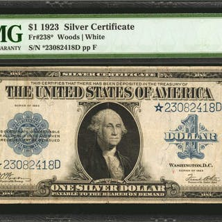 Fr. 238*. 1923 $1  Silver Certificate Star Note. PMG Very Fine 20.
