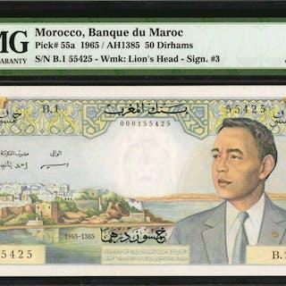 MOROCCO. Banque d'Etat du Maroc. 50 Dirhams, 1965. P-55a. PMG Choice