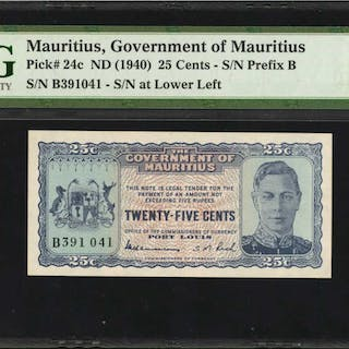 MAURITIUS. Government of Mauritius. 25 Cents, ND (1940). P-24c. PMG