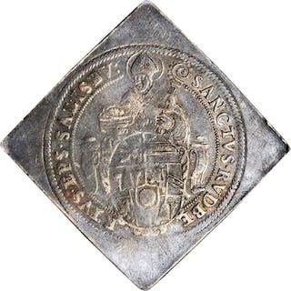 AUSTRIA. Salzburg. Klippe Taler, 1593. Wolf Dietrich Von Raitenau. NGC FINE-15.