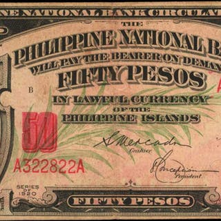 PHILIPPINES. Philippine National Bank. 50 Pesos, 1920. P-49. Very Fine.