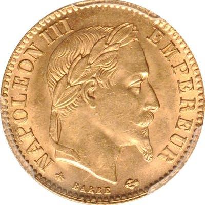 FRANCE. 10 Francs, 1864-A. Paris Mint. Napoleon III. PCGS MS-64 Gold Shield.