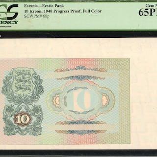 ESTONIA. Eestie Pank. 10 Krooni, 1940. P-68p. Progress Proof, Full
