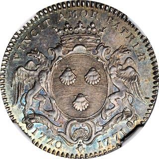 FRANCE. Nantes. Silver Jeton, 1771. NGC AU-58.