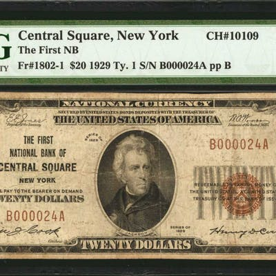 Central Square, New York. 1929 Ty. 1 $20 Fr. 1802-1. The First NB.