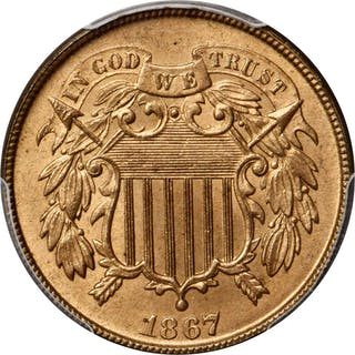 1867 Two-Cent Piece. MS-66 RD (PCGS).