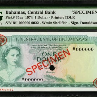 BAHAMAS. Central Bank of Bahamas. 1 to 100 Dollars, 1974. P-35as and