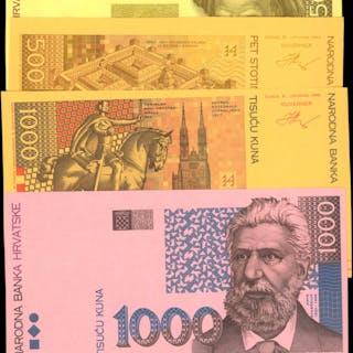 CROATIA. Narodna Banka Hrvatske. 500 & 1000 Kuna, 1993. P-34 & 35.