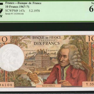 FRANCE. Banque de France. 10 Francs, 1967-71. P-147c. PCGS Currency