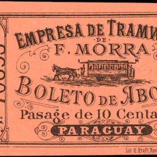 PARAGUAY. Empresa de Tramways de F. Morra. 10 Centavos, (ca.1885).