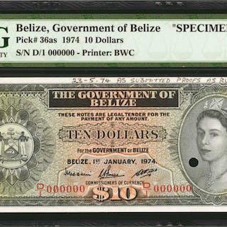 BELIZE. Government of Belize. 10 Dollars, 1974. P-36as. Specimen.