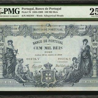 PORTUGAL. Banco de Portugal. 100 Mil Reis, 1894-1909. P-78. PMG Very