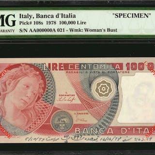 ITALY. Banca d'Italia. 100000 Lire, 1978. P-108s. Specimen. PMG Choice