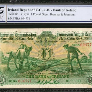 IRELAND, REPUBLIC. Bank of Ireland. 1 Pound, 1939. P-8b. PCGS GSG