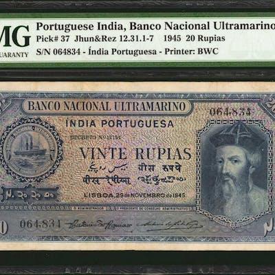 PORTUGUESE INDIA. Banco Nacional Ultramarino. 20 Rupias, 1945. P-37.