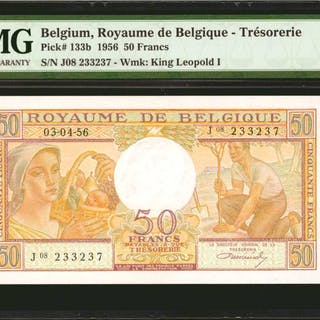 BELGIUM. Royaume de Belgique. 50 Francs, 1956. P-133b. PMG Gem Uncirculated