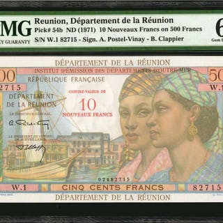 REUNION. Departement de la Reunion. 10 Nouveaux Francs on 500 Francs