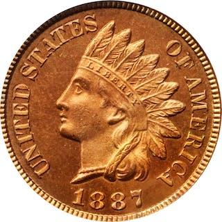 1887 Indian Cent. Snow-PR6. Proof-65 RD Cameo (PCGS).