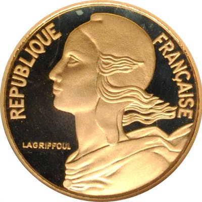 FRANCE. Gold 5 Centimes Piefort, 1978. Paris Mint. NGC PROOF-68 Ultra Cameo.