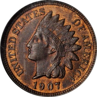 1907 Indian Cent. MS-64 RB (NGC).